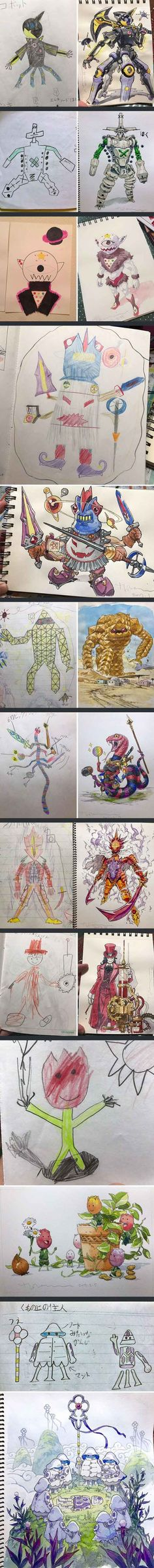 Dad turns his son's doodles into awesome anime art