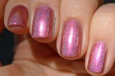 Too Fancy Lacquer - Rosé By The Dozen - rosy pink linear holo with a slight purple and golden shift