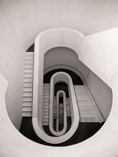 Stair well from the underground car park of the Stadt Theater in Darmstadt, Germany. Photo by Peter Writer
