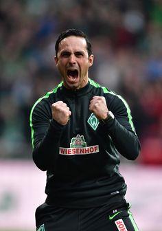 Alexander Nouri, head coach of Bremen celebrates his teams second goal during the Bundesliga match between Werder Bremen and SV Darmstadt 98 at Weserstadion on March 4, 2017 in Bremen, Germany.