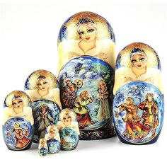 """""""Tale Of Snowmaiden Collectible #nestingdoll Item No. ND02157A07 $479.49 This very colorful and intricately painted collectible nesting doll is quite a beauty. There is a lot of gold accents that were delicately painted by hand by a Russian artist, as well as a touch of sparkle. This nearly 8 1/2"""" tall doll is truly a one-of-a-kind piece of artwork that any serious art collector would cherish. Total of 7 Snow maiden dolls in this set."""" Russian Landscape, Snow Maiden, Russian Winter, Gold Accents, Nest, Sparkle, Dolls, Artist, Artwork"""
