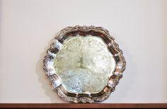 #Vintage #InternationalSilver #Countess Round Silver Plate Hollowware Serving Tray, Platter, #Wedding