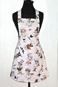 The Funny Cooks on White Retro Chefs Apron by GrammaMayHandicrafts, $49.99