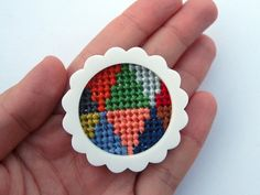 Bright Large Burst Brooch with Embroidered by esthersandler, $30.00