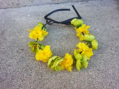 Green and Yellow Floral Headband/ Flower Crown. by DevineBlooms, $13.00