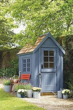 Small Wooden Shed from Posh Sheds. Garden Shed Ideas and inspiration. Garden and… Small Wooden Shed from Posh Sheds. Garden Shed Ideas and inspiration. Garden and potting sheds – plastic, metal and wooden – to inspire. Diy Storage Shed Plans, Wood Shed Plans, Diy Shed, Storage Sheds, Small Storage, Tool Storage, Small Garden Storage Ideas, Small Garden Tool Shed, Garden Shed Diy
