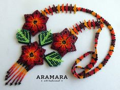 Dimension Necklaces length is inches cms) from point to point Necklaces hanging length is inches cms) Diameter of each flower is inches cms) Earringss length inches cms) The Huichol represent one of the few remaining indigenous cultures left in Mexico. Beaded Jewelry Patterns, Beading Patterns, The Snake, Huichol Art, Mexican Paintings, Mexican Jewelry, Big Flowers, Mexican Art, Flower Necklace