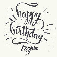 Joyeux anniversaire à main lettrage - Illustration vectorielle