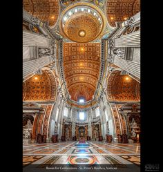Room for Confessions – St. Peter's Basilica, Vatican (HDR Vertorama)    This is another vertorama from St. Peter's Basilica in the Vatican. You may wonder where all the tourists are. Well, I sent them all out to take some shots  I wish I could have! This section was locked for the public.