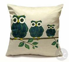 """OWLS CUSHION - Retro Green, Blue, Cream & Gold Scatter Filled Cushion 17"""" x 17 Cream, Teal, Green 17"""" x 17"""" ( 43cm x 43cm ): Owls Filled Cus..."""