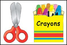 Cute cut outs - scissors, crayons, glue, and paper. FREE download at The Kinder Cupboard - thekindercupboard blogspot & thanks for visiting.