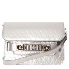 Proenza Schouler PS11 mini Silver This is an absolutely authentic and gently used silver PS11 mini in beautiful condition.  There are some crease marks on the back leather from regular use but no other wear noted.  I will include the tag and cards.  No trades or PayPal (please don't ask). Proenza Schouler Bags Shoulder Bags