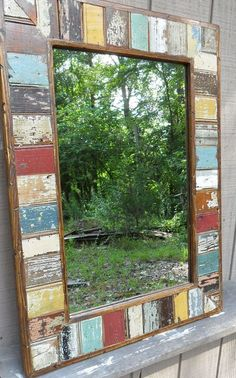 Items similar to mosaic rustic beadboard mirror on Etsy - Home decor Unique Mirrors, Rustic Mirrors, Big Mirrors, Rustic Furniture, Painted Furniture, Reclaimed Wood Mirror, Upcycled Home Decor, Wood Creations, Wood Pallets