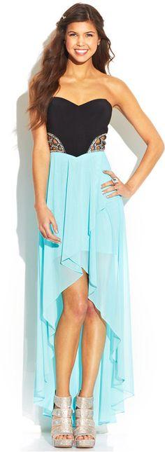 Blondie Nites Juniors' Strapless Colorblock High-Low Dress