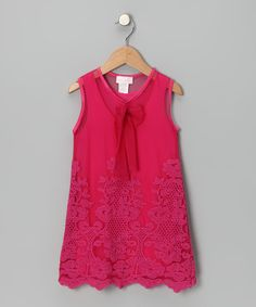 Fuchsia Mesh A-Line #Dress by Bebemonde on #zulily!
