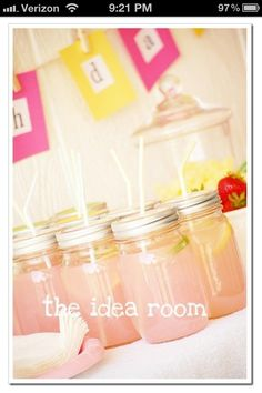 Lemonade in a jar. Very cute idea!!