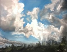 Nubes locas al pastel #pastel #drawing #sketch #art #cloud #winter #landscape #nature #pasteldrawing