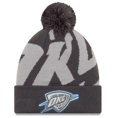 super popular ca0c2 e61e3 Men s Oklahoma City Thunder New Era Black Gray Logo Whiz 3 Cuffed Knit Hat