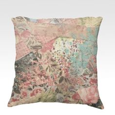 PIECES OF ME Revisited  Fine Art Velveteen Throw Pillow, Decorative Home Decor Colorful Pastel Pink Grey Floral Stripes Fine Art Toss Cushion, Modern Bedroom Bedding Dorm Room Living Room Style Accessories  by EbiEmporium, $75.00