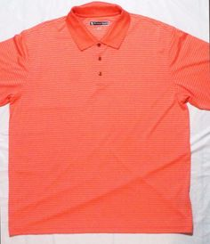 Men's Pebble Beach Performance Peach Stripe Stretch Golf Polo Shirt Size XXL #PEBBLEBEACH #STRETCHPolyGolf