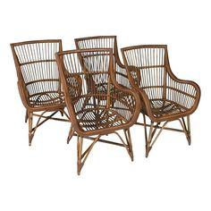 Deja Vu Rattan Dining Armchairs - Set of 4 by Chairish | Chairish