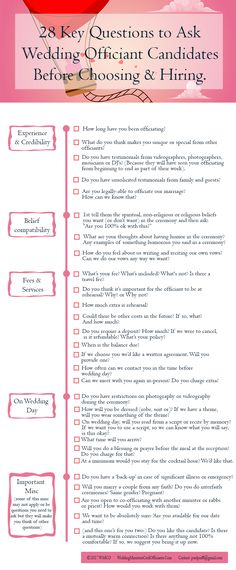 28 Key Questions To Ask Wedding Officiant Candidates Before Choosing And Hiring  Wedding Tips, Wedding Stuff, Wedding Minister, Wedding Services, Wedding Officiant, Wedding Ceremonies, Wedding Matches, Engagement Couple, Happily Ever After