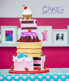 Making a Cake of Cakes with Chocolate, Pink Vanilla, & Coconut Cake an – HOW TO CAKE IT