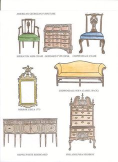 American Georgian furniture - all kinds of furniture