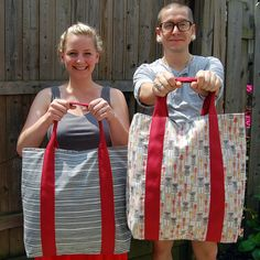 DIY: giant totes. these could really come in handy for the beach. or the park. or the flea market.