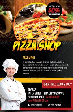 Do you need pizza flyer templates? Here is the best collection of pizza restaurant flyer PSD templates that you can utilize to sell the food products. Restaurant Flyer, Pizza Restaurant, Psd Templates, Flyer Template, Pizza Flyer, Good Pizza, Wall Design, Nice, Food