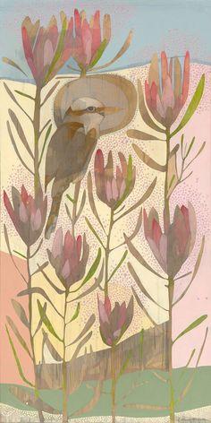 spring - laughing kookaburra and protea repens spring - laughing kookaburra and protea repens Botanical Illustration, Illustration Art, Protea Art, Australian Birds, Australian Flowers, Aboriginal Art, Bird Art, Painting Inspiration, Art Inspo