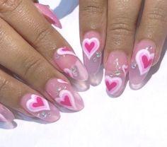 nails Valentine's Day Nail Designs, Acrylic Nail Designs, Heart Designs, Nails Design, Really Cute Nails, Pretty Nails, Aycrlic Nails, Swag Nails, Grunge Nails
