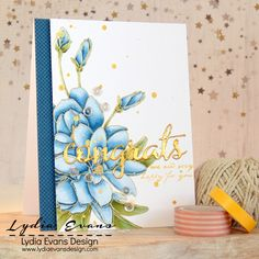 "Sltnew ""Magnoliad For Her"" Stamp, Copic coloring, gold embossing of sentiment.  Beauty!!"