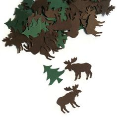 Moose Confetti, camping party, hiking baby shower, woodland party decorations, lodge, Alaska, winter, tundra, pine trees, forest, 100 pieces by PartyParts on Etsy https://www.etsy.com/listing/206170872/moose-confetti-camping-party-hiking-baby
