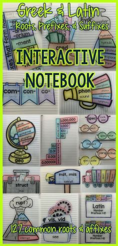 Interactive Vocabulary Notebooks Greek & Latin Roots, Prefixes, & Suffixes This Interactive Vocabulary Notebook is full of dynamic activities for teaching Greek and Latin roots, prefixes, and suffixes. Please see the preview file for a list of the specif