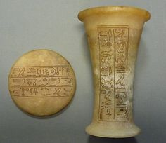 Ointment Jar From Foundation Deposit C, Hatshepsut's Temple    Period:      New Kingdom  Dynasty:      Dynasty 18  Reign:      Joint reign of Hatshepsut and Thutmose III  Date:      ca. 1473–1458 B.C.  Geography:      Egypt, Upper Egypt; Thebes, Deir el-Bahri, Temple of Hatshepsut, forecourt, Foundation Deposit 3 (C), MMA 1923–24  Medium:      Calcite, paint