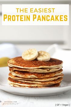 Easiest Protein Pancakes The Easiest Protein Pancakes these healthy high protein low carb vegan optional gluten free and grain free pancakes are so easy they only need Healthy Protein Pancakes, Protein Powder Pancakes, Low Carb Pancakes, Protein Powder Recipes, Pancakes Easy, Protein Snacks, Protein Recipes, Breakfast Pancakes, Protein Cake