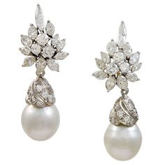 Glamorous   Diamond & Pearl  Drop  Earrings | From a unique collection of vintage drop earrings at https://www.1stdibs.com/jewelry/earrings/drop-earrings/