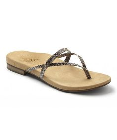 Love this Natural Snake Santiago Leather Sandal by Vionic with Orthaheel Technology on #zulily! #zulilyfinds