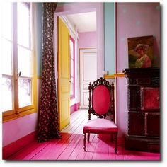 Pink for Gentle, Soothing, Loving with a sunny and happy nourishing yellow- Fire Element in South-West.
