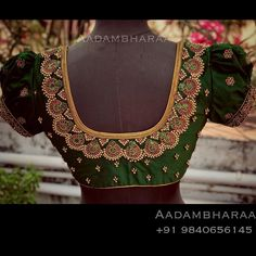 Blouse with hand embroidery kundan silver thread work. Kerala Saree Blouse Designs, Fancy Blouse Designs, Bridal Blouse Designs, Blouse Neck Designs, Hand Work Blouse Design, Stylish Blouse Design, Maggam Work Designs, Maggam Works, Embroidery Suits Design