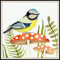 Red Mushroom / Blue Tit / Bird Art / Art Print from Original Watercolor Painting / Woodland / Grass / Wall Art/ Nursery Decor via Etsy