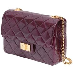 Designinverso Women Milano Quilted Effect Pvc Shoulder Bag (£135) ❤ liked on Polyvore featuring bags, handbags, shoulder bags, quilted handbags, shoulder bag purse, purple purse, chain handle handbags and pvc purse