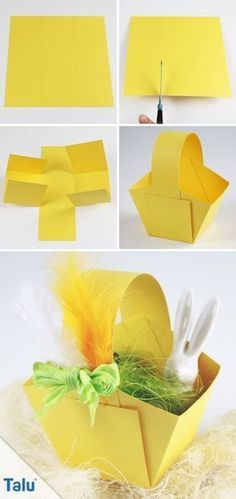 Make Easter baskets - Instructions + templates for Easter eggs - DIY-Ideen - Basteln und Gestalten - Paper Easter Art, Easter Crafts, Easter Eggs, Diy For Kids, Crafts For Kids, Easter Baskets To Make, Spring Crafts, Diy Flowers, Happy Easter