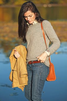 Fall Outfit: Jacket:  Penfield.   grey Sweater: J. Crew.  Birding Oxford: Barbour.  Jeans:  J. Crew.