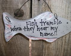 Wood Fish Sign with Saying Fathers Day