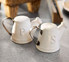 Just ordered these cute Salt and Pepper Shakers! Watering Can Salt  Pepper Shakers #potterybarn