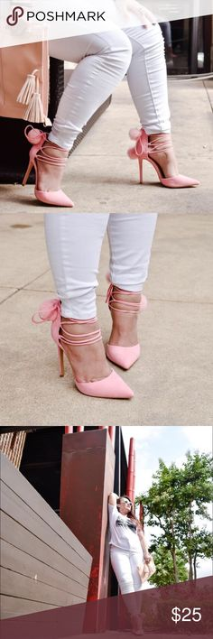 """Faux Pink Suede Lace Up Heels With Pom Poms, yo!! Pointy toes. Heels of 4.5"""". Perfect condition with a slight dirt smudge on right heel. Can be cleaned. Priced to reflect the stain. I'll take a picture of it soon. Used once. Shoes Heels"""