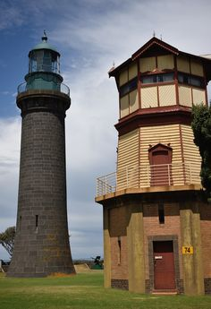 Queenscliff Black lighthouse and signal tower ~ located at Fort Queenscliff in Queenscliff, Victoria, Australia.