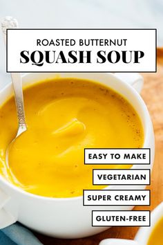 This roasted butternut squash soup is super CREAMY yet LIGHT! No heavy cream here. This soup is so easy to make and tastes incredible. It's the only butternut squash soup recipe you'll ever need! #cookieandkate #butternutsquashsoup #fall #thanksgiving #healthy #soup